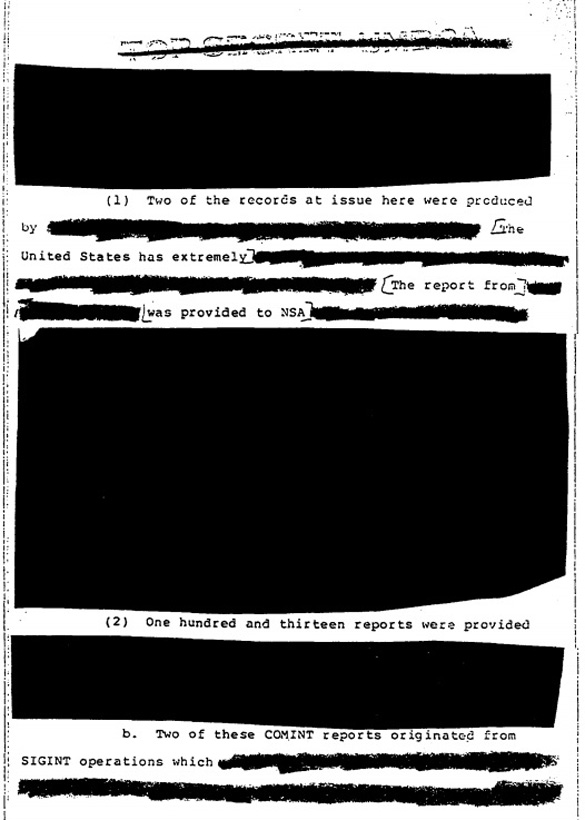 A heavily redacted page from the Yeates affidavit. (Credit: NSA)