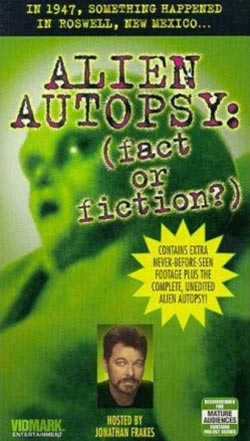DVD cover to the original Alien Autopsy documentary