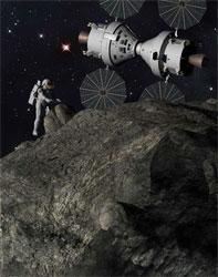 Artist's illustration depicting astroid mission (credit: Lockheed Martin)