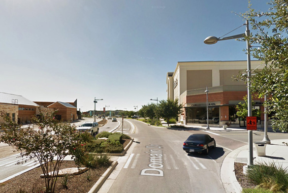 The square UFO appeared to be traveling about 300 feet in the air and moving along at about 25 mph when the Austin, TX, witness saw it. Pictured: Street scene in Austin. (Credit: Google)
