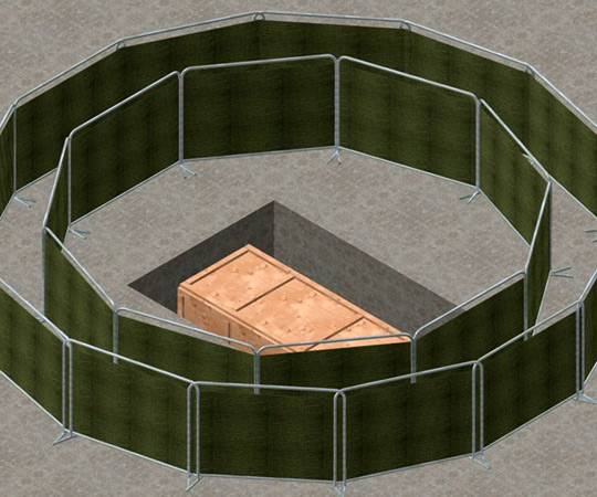 Illistration of bomb pit with security screens by Michael Schratt