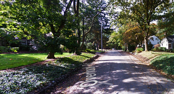 The Caldwell, NJ, witness saw the object hovering near the tree top level close to his home. Pictured: A street scene in Caldwell. (Credit: Google)