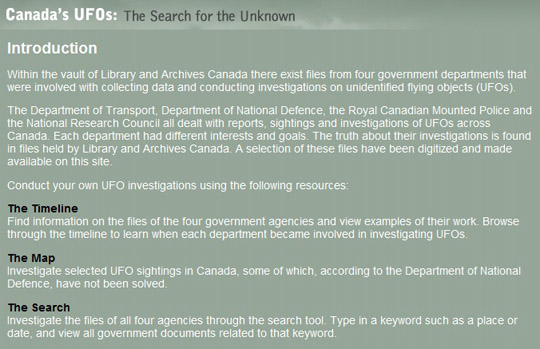 Canada's UFO wesbite. (Click the image to go to the site.)