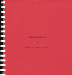 "Col. Corso's original manuscript, titled ""Dawn of a New Age""."