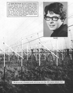 Jocelyn Bell and the radio telescope used to discover the LGM signal.