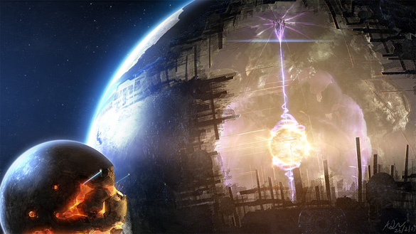 Artist rendition of a Dyson sphere. (Credit: FantasyWallpapers.com/earthsky.org)