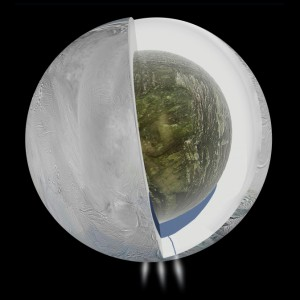 Illustration depicting a large interior ocean beneath an ice shell on Enceladus. (Credit: NASA/JPL-Caltech)