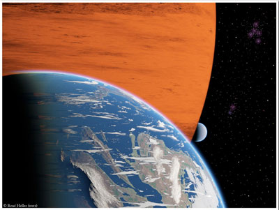 Artist's conception of two extrasolar moons orbiting a giant gaseous planet. (Credit: R. Heller, AIP)