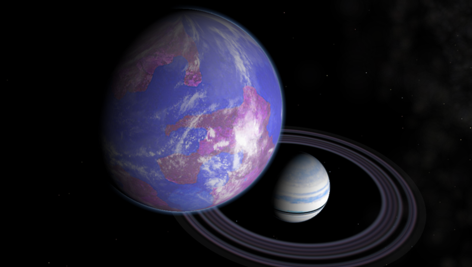 Artist's impression of a hypothetical Earth-like moon around a Saturn-like exoplanet. (Credit: NASA)