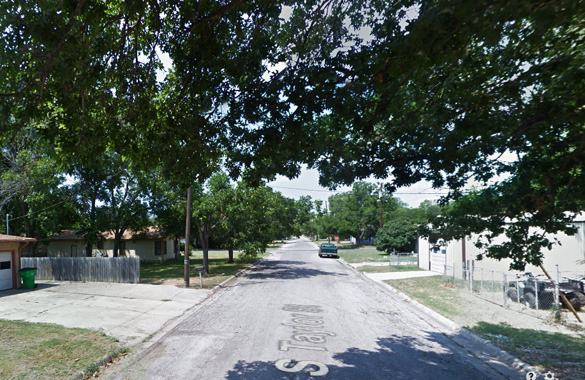 The witness was driving home from work when the crowd of people in the street was noticed – all watching a UFO. Pictured: Tyler Street, Gainesville, TX. (Credit: Google)
