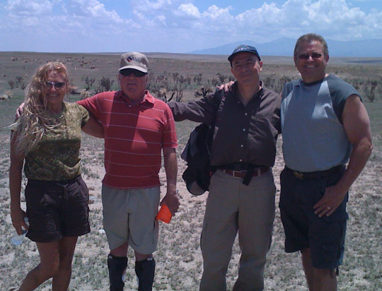 The gang at the debris field. From left: Debbie Ziegelmeyer, Jesse marcel Jr., Maurizio Baiata, Chuck Zukowski.