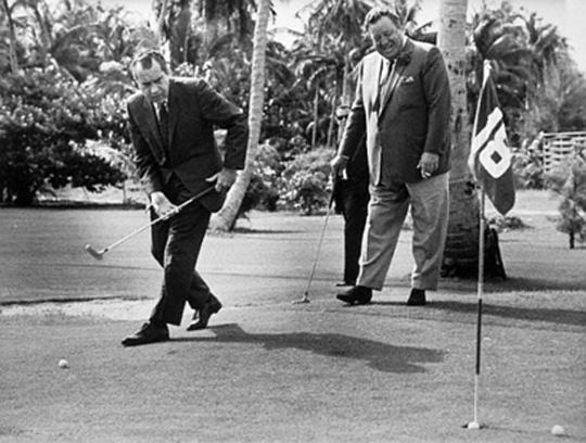 Golfing buddies, President Richard Nixon and Jackie Gleason.