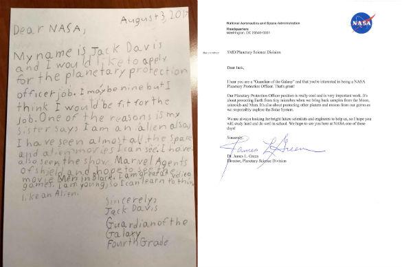 Young Jack Davis' letter and NASA's Dr, Green response. (Credit: NASA)