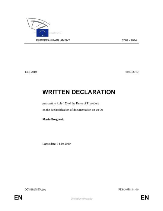 Borghezio's Written Declaration on the declassification of documentation on UFOs page 1.