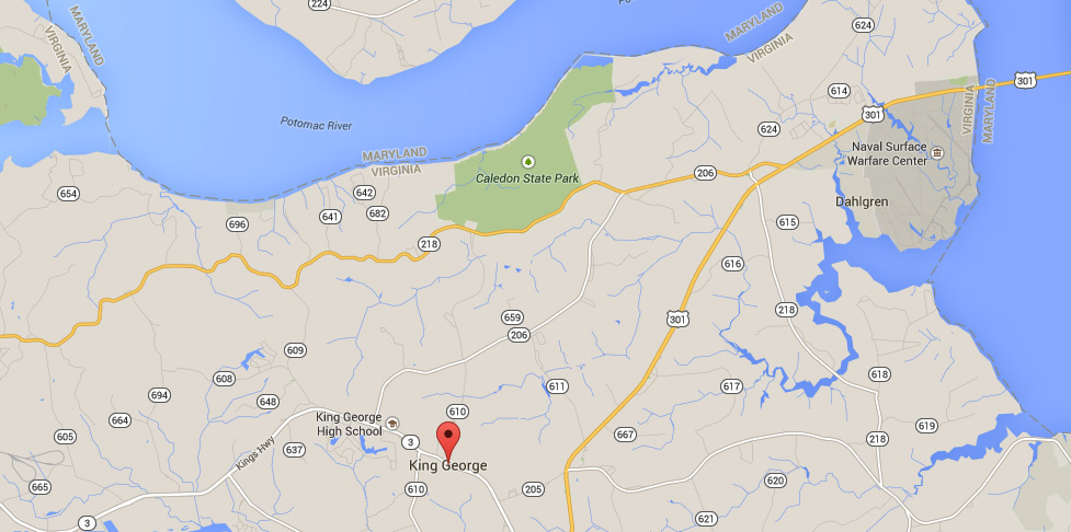 The witness was driving along Route 301 near King George, VA, about 10:10 p.m. on April 23, 2015, when the object was first seen. (Credit: Google)