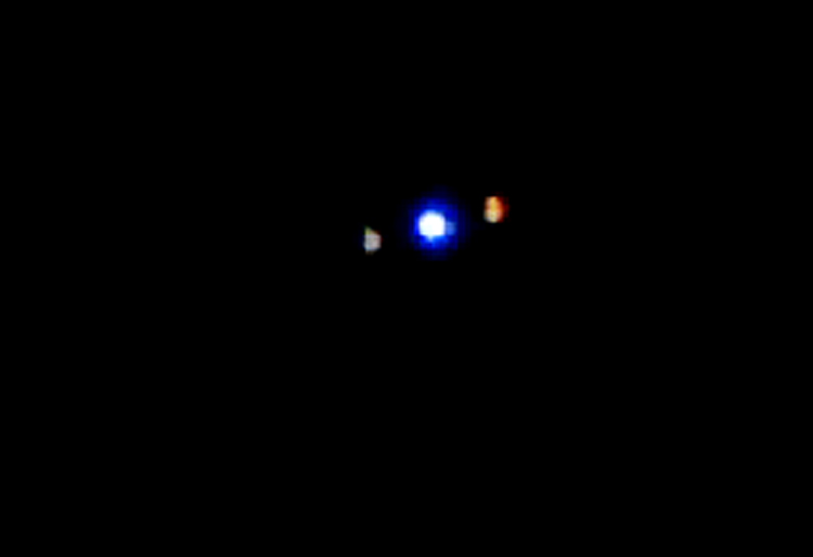 Frame capture from the witness video. Although these lights appear to be airplanes, Massachusetts MUFON is conducting an investigation. We will share their findings when the investigation has been completed. (Credit: MUFON)