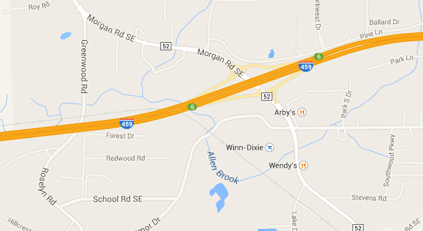 The witness had just passed the Morgan Road exit along I-459 when the hovering triangle UFO was first seen. (Credit: Google)