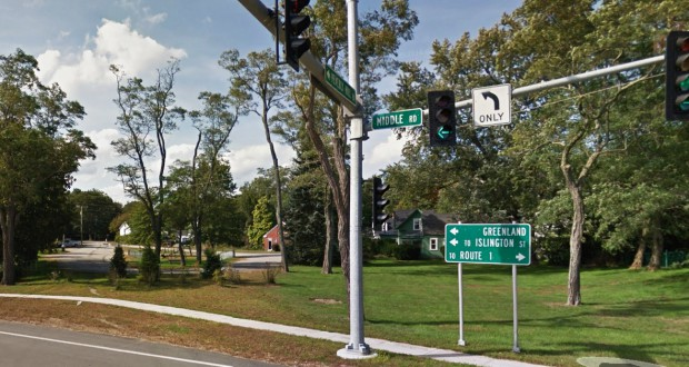 The incident occurred at the intersection of Peverly and Middle roads in Portsmouth, NH. (Credit: Google)