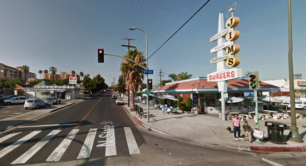 The UFO first appeared as a dark object in the southwest sky over the Boyle Heights section of Los Angeles, CA, beginning about 4:50 p.m. on January 7, 2015. Pictured: Boyle Heights. (Credit: Google)