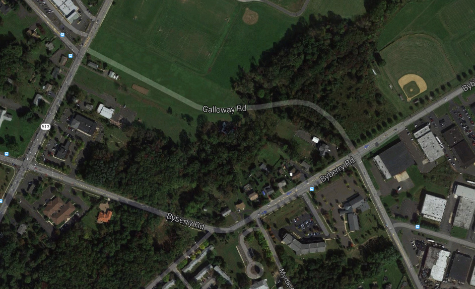 The witness first saw the UFO along Galloway Road just after turning off of Byberry Street in Bensalem, PA, about 7:30 p.m. on March 14, 2015. (Credit: Google)