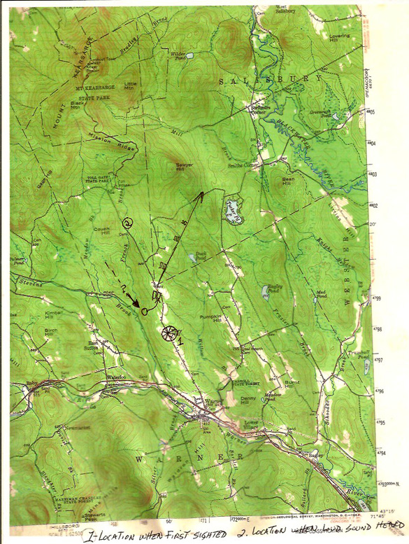 Map of UFO flight area. (Credit: MUFON)