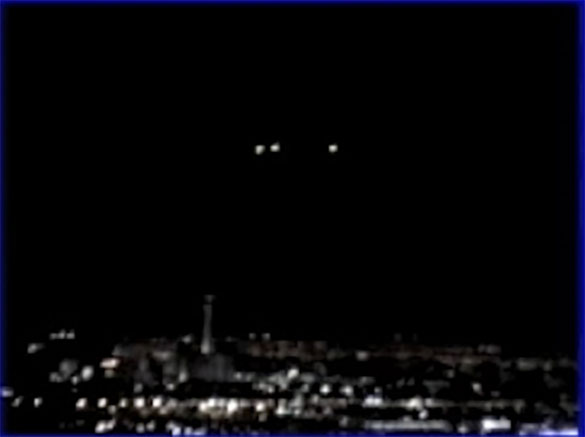 The witness first saw three lights in the sky that disappeared and a short while later more lights appeared to hover in the sky above the Las Vegas Strip. Pictured: Still image cropped and enlarged from the witness video. (Credit: MUFON)