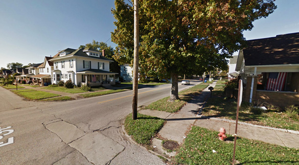 The witness was outside in Bedford, IN, when the first of three red orbs was seen moving quickly across the sky about 9:30 p.m. on May 16, 2015. Pictured: Bedford, IN. (Credit: Google Maps)