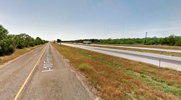 The trucker first ignored UFO warnings heard on the CB radio as he was westbound along I-10 near Seguin, TX. The original report was of multiple objects at mile marker 599. Pictured: The mile marker 599 area of I-10 near Seguin, TX. (Credit: Google Maps)