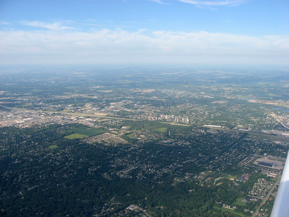 The witness first noticed two objects rising above the tree line on November 7, 2015. Pictured: Aerial view of West Carrollton, Ohio. (Credit: Wikimedia Commons)