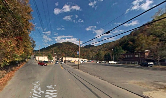 The witness first noticed the UFO when light was shining into their home window. Pictured: Mullens, WV. (Credit: Google)
