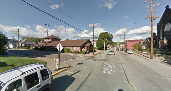 The witness first saw the object as a cigar shape. Pictured: Rochester, PA. (Credit: Google)