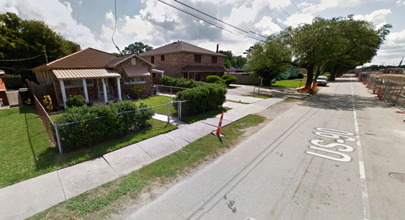 The witness was 8 years old in 1967 when a triangle-shaped UFO was seen hovering over a neighbor's garage. Pictured: Street scene in Jefferson, LA. (Credit: Google Maps)