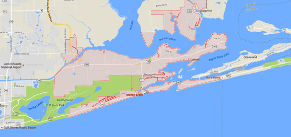 The Orange Beach, AL, witness believes UFO are commonly spotted there. (Credit: Google)