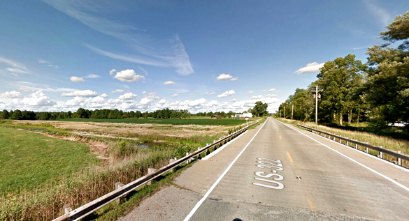 The witness first saw a black triangle UFO hovering over a bridge near Orwell, OH. Pictured: Orwell, OH. (Credit: Google)
