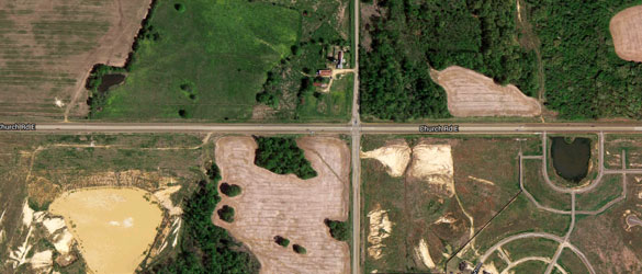 The witness was traveling along Pleasant Hill near Church Road in Olive Branch, MS, when the object was first seen. Pictured: The Pleasant Hill and Church Road intersection. (Credit: Google Maps)