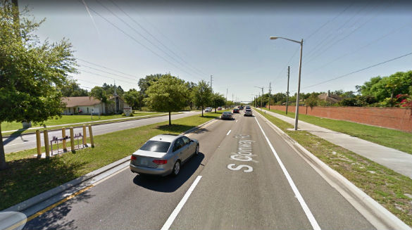 The witness was driving along Conway Road near the Judge Road intersection when the object was observed hovering over a nearby building. (Credit: Google)