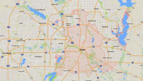The witness watched a light in the sky that appeared to be tethered to a larger object over Dallas, Texas. (Credit: Google)