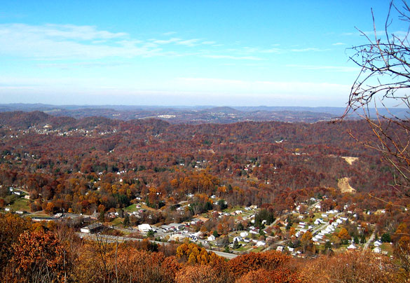The witness first noticed a single object in the sky with lights at each of its three, triangular points. Pictured: Bluefield, WV. (Credit: Wikimedia Commons)