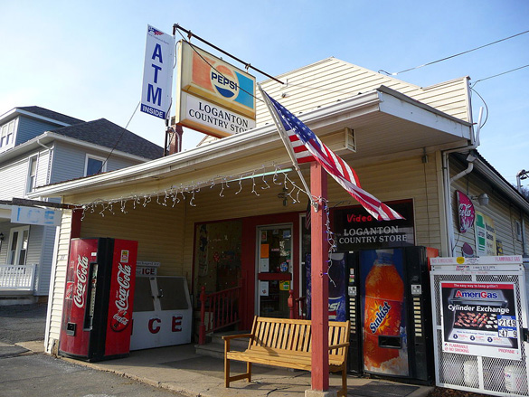 The witness said the disc-shaped UFO moved like a bumblebee. Pictured: Loganton Country Store, Loganton, PA. (Credit: Wikimedia Commons)