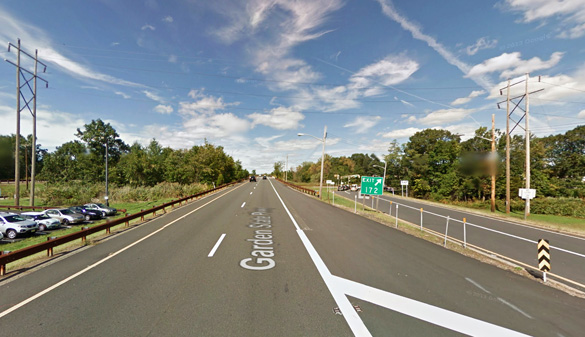 The disc-shaped object was first seen about 10:15 p.m. on July 22, 2015, shortly after passing the Montvale service area along the Garden State Parkway from the northbound lanes. (Credit: Google Maps)