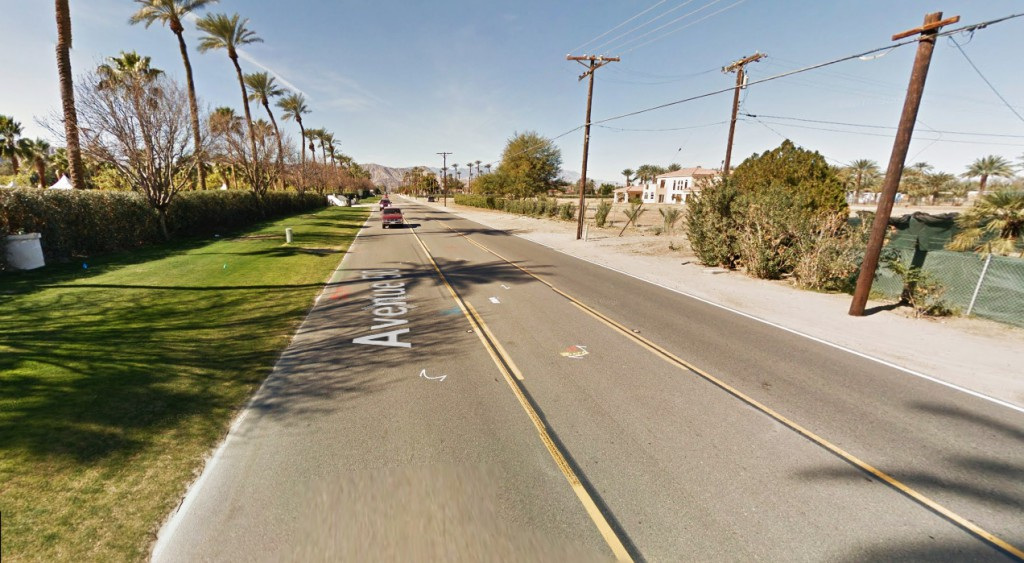 The object appeared to increase in size by about 50 percent and then decrease in size by 50 percent. Pictured: Indio, CA. (Credit: Google)