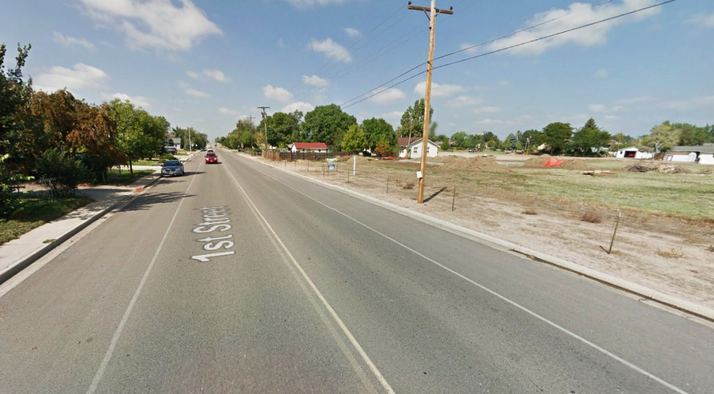 The silent object the size of a basketball moved just 50 feet above the street in Frederick, CO, about 8 p.m. on October 1, 2014. Pictured: Frederick, CO. (Credit: Google)