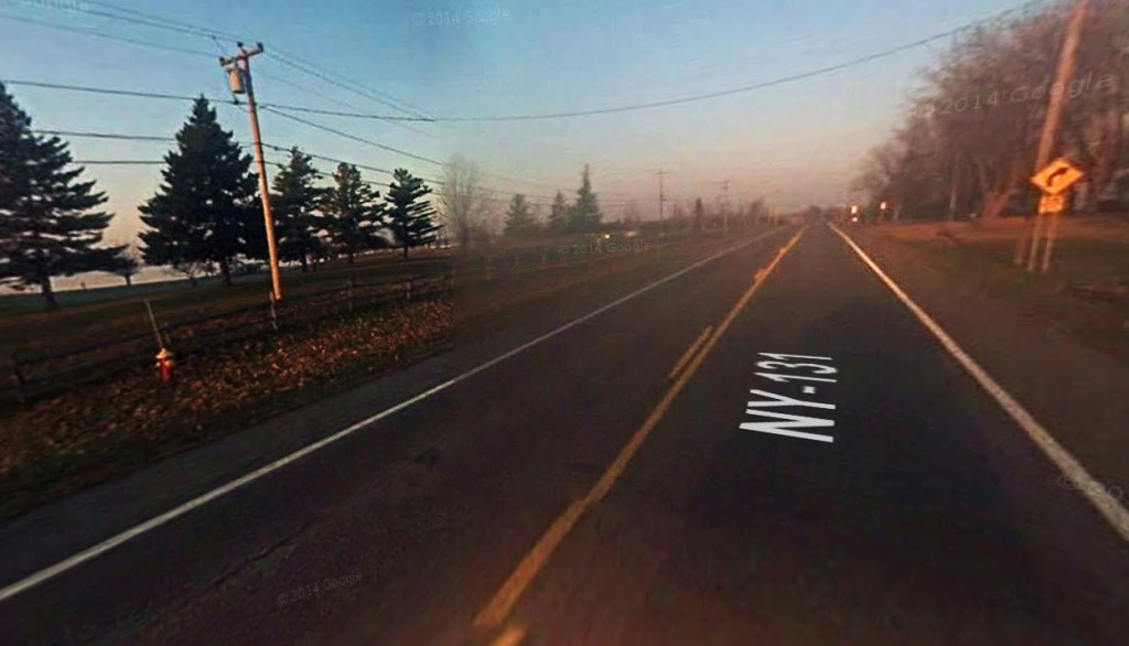 The first sphere crossed Route 131 at right angles to the road and at an elevation of approximately 600 feet. Pictured: Route 131 in Massena, NY. (Credit: Google)