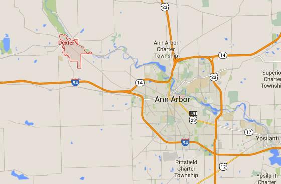 Dexter, MI, is northwest of Ann Arbor. (Credit: Google)