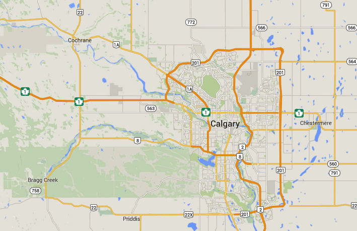 The pilot was approaching Calgary and was approximately 10 miles north of Cochrane flying parallel to and a couple miles west of Highway 22 when the cigar-shaped object was seen under 200 feet off of the ground. (Credit: Google)