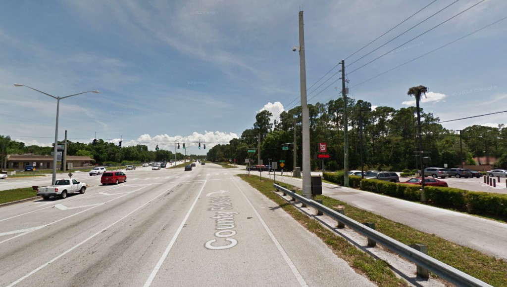 There was a 10-second gap when the object was obscured by trees – but during the second sighting it again appeared to be hovering. Pictured: Palm Harbor, FL. (Credit: Google)
