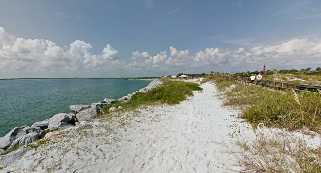 The witness looked north and saw an object hovering low in the sky. Pictured: Ponce Inlet, Florida. (Credit: Google)
