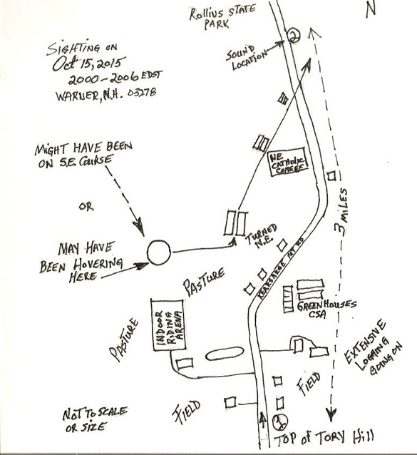 Witness illustration of the UFO flight path. (Credit: MUFON)