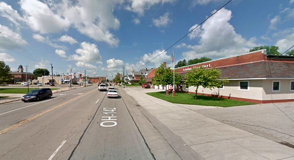 The object appeared to land, but the witness kept driving. Pictured: London, Ohio. (Credit: Google)