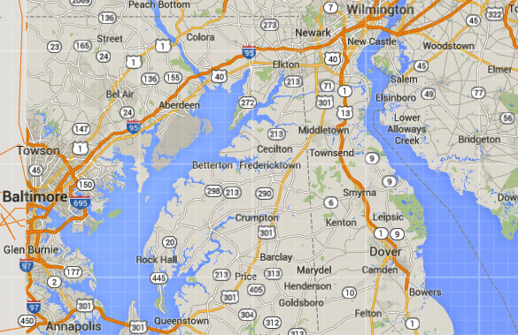 Dover, DE, is about 90 miles southeast of Baltimore, MD. (Credit: Google Maps)